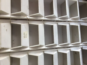 White plastic stackable storage containers