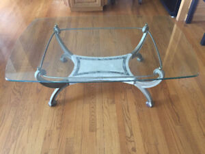 VINTAGE COFFEE TABLE WITH HIGH QUALITY GLASS TOP FOR SALE