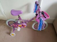 "Child Bike Apollo Sweetpea 14"", with stabilisers"