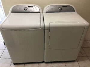 "Whirlpool 27"" white top load washer front load electric dryer"