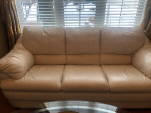 Three piece Sofas leather and cofee tables