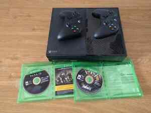 Xbox One console w/ 2 controllers and Fallout 4 + Halo anthology