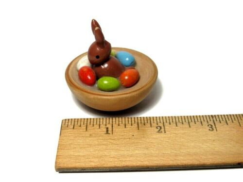 Tiny Wooden Easter Egg Basket with Bunny and Colored Eggs