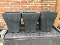 Three Granite Type Garden Pots