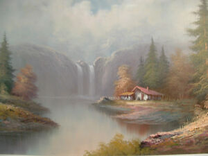 CABIN AT THE WATERFALL oil painting Peterborough Peterborough Area image 2