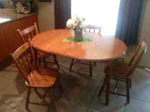 Maple table and four chairs