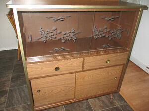 Unique Vintage Stand Display Case TV Stand with Glass Doors and