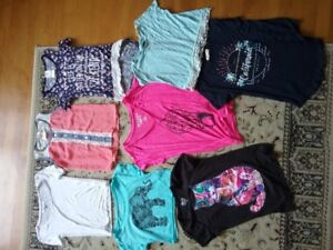 12 brand name t-shirts/tops - sizes small/x-small and 10-12.