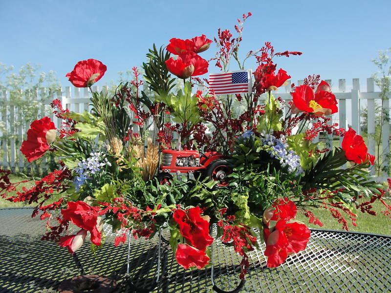 Harvest Farm John Deere or IH Tractor Cemetery Flowers Grave Headstone Saddle