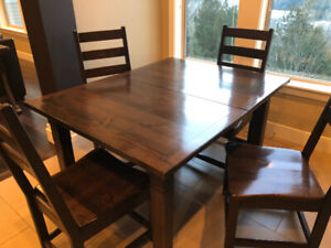 SOLID pine dining table with 4 matching chairs