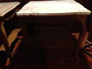 3vintage French provincial marble top tables with cut glass tops