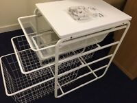 IKEA Algot white storage unit with 3 drawers & castors