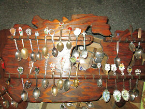 LARGE LOT OF COLLECTOR SPOONS and racks