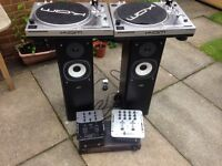 DJ Starter Pack - Kam direct drive turntables + mixers + amp + speakers
