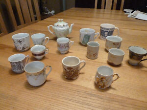 13 Antique Tea Cups, Small Teapot and Silver Jubilee Mug