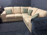 Cream beige patterned fabric corner sofa 5 seater