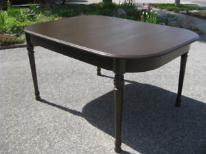 Refinished Vintage Oak Dining Room Table. Antique Chairs, Buffet