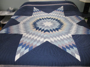 Blue & White Star Quilt Hand-Made by Mennonites