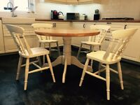 Oak topped country dining table and four chairs