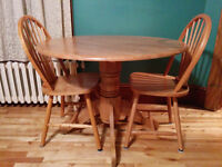 Solid Oak Apartment Sized Table and 2 Chairs - Delivery