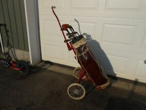 antique golf club set/bag cart and even shoes