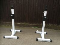 **LIKE NEW** PAIR OF FULLY ADJUSTABLE SINGLE SQUAT STANDS / BENCH PRESS STANDS