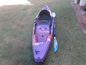 Finn widget kayak with paddle and back rest