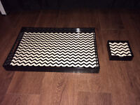 Chevron Tray and Coasters