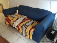 Sofa, 2 seater, blue fabric, sofa bed