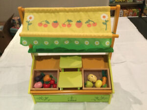 Djeco Play Fruit & Veg Market, wooden, with retractable awning