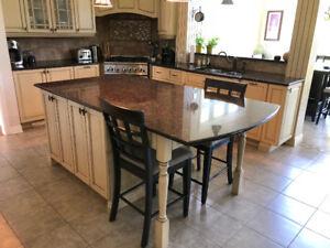 Ilot de Cuisine Granite Kitchen Island Granit Bois Wood