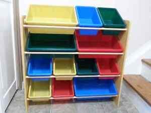 Toy storage with bins