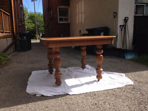 Antique oak dining table set with chairs