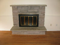 Stone Fireplace Blocks, Mantel, Hearth and Fireplace glass Door