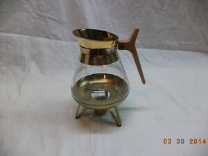 Coffee Tea Carafe and Warmer 22 carat gold details
