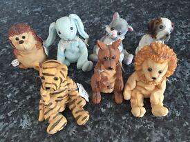 Job lot 7 treasured Pals figurines hedgehog lion tiger rabbit kangaroo cat dog