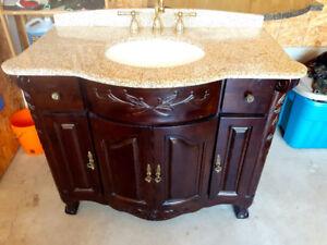 Solid Wood, Granite Top Custom Bathroom Vanity