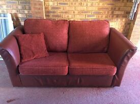 2 Seater Sofa Burgundy/Wine Coloured with In-Built Sofa Bed