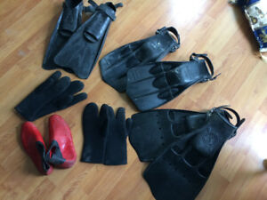 fins, gloves and booties