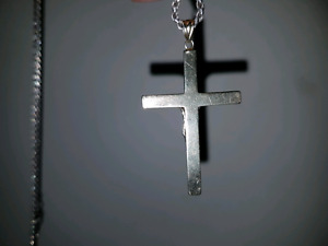 Men's 2 tone 10k gold crucifix with silver chain