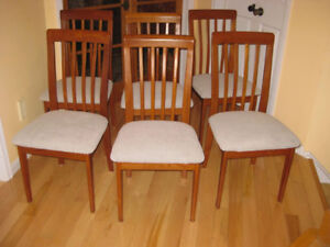 6 MCM Nordic Solid Teak Chairs, New Upholstery,  Top Condition