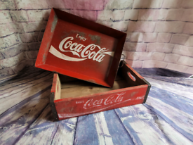 Vintage look Coca-Cola wooden crate and tin tray