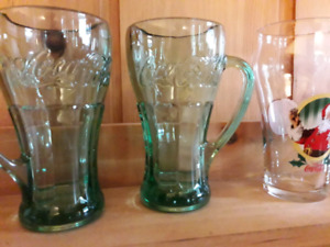 5 vintage coca cola glasses