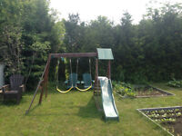 Swing set with 2 swings and slide