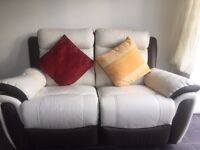 2 seater Leather twin recliner white and brown