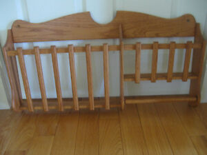 CLASSY SOLID OAK SLATTED SECTIONED WALL HANGING MAG./ BOOK RACK