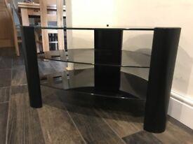 Glass shelf tv stand, black