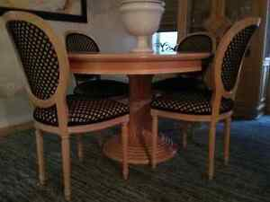 Solid Wood Dining Table with Chintz and Company Chairs