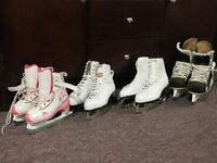 Three pairs of ice skates for sale. Various sizes.