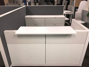 Reception Desks - All White with 3 Drawer White File Cabinet